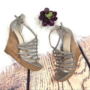 Seychelles TRUST High Wedge Silver Sandals 8
